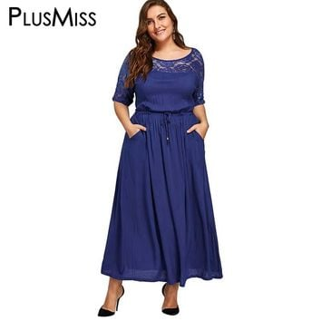 Plus Size 5XL Sexy Lace Crochet Drawstring Maxi Long Dress Spring 2017 Women Vintage Chiffon Blue Beach Dress Robe Big Size