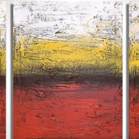"""ARTFINDER: triptych 3 panel wall art impasto textured """"Rainbow Flats"""" 3 panel canvas wall abstract canvas pop abstraction 48 x 20 """" other sizes available by Stuart Wright - triptych abstract painting, 3 piece canvas art ..."""