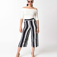 Vintage Style Navy and White Stripe High Waist Capris