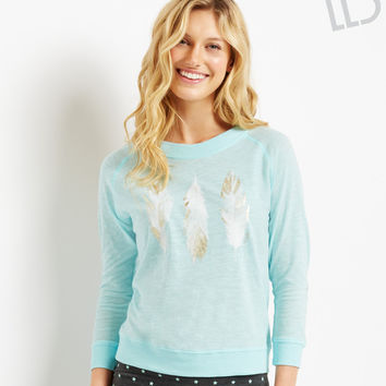 Live Love Dream Womens LLD Long Sleeve Feather T-Shirt - Blue,