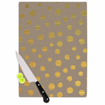 "Nika Martinez ""Earth Golden Dots"" Brown Yellow Cutting Board"