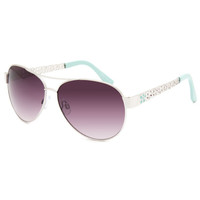 Full Tilt Hacidena Floral Sunglasses Mint One Size For Women 25588252301