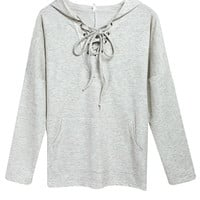 Gray Lace Up Hooded Sweatshirt
