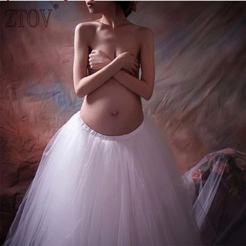 ZTOV Pregnancy Elegant Gown White Lace Maternity Photography Props Royal Style Dresses Pregnant Women Photo Shoot Dress Clothes