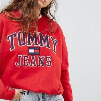 Tommy Hilfiger Fashion Unisex Loose Round Collar Print Logo Sweatshirt Pullover Top Sweater Red I