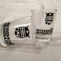 Doctor Who Dalek inspired pair of Dalek shot glasses, inebriate, intoxicate