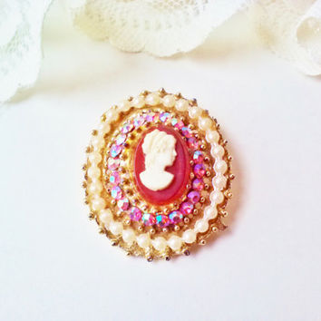 Coro Cameo Carved White Lady Head Gold Vintage Brooch Pin Watermelon Crystal Rhinestones Faux Pearls Maroon Costume Jewelry Mothers Estate