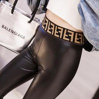 FENDI New Women PU Leather High Waist Stretch Pants Trousers Black