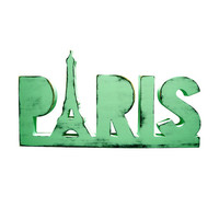 Wooden Paris Sign with Eiffel Tower (Pictured In Mint) Home Decor Wooden Letters Wedding Guest Book Photo Prop Shabby Chic Paris