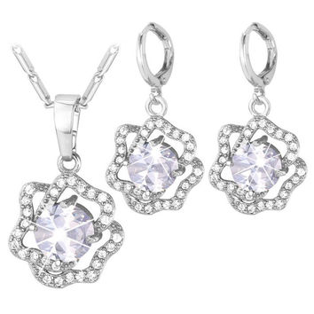 Rhinestoned Blossom Necklace and Earrings