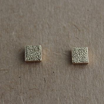 Textured Square Studs-Gold
