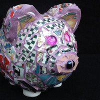 "Piggy Bank ""To Mother"" Mosaic Pig OOAK Handcrafted Unique gift Mothers day"