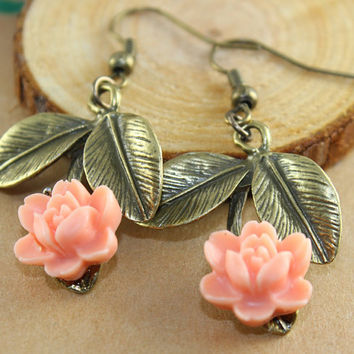 branch leaf Pink flower earrings by BeautyandLuck on Etsy