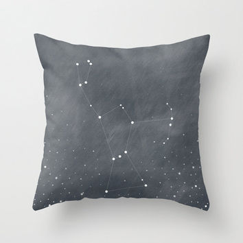 Orion Constellation Stars Dark Grey Blue Home Decor Textured Twill Throw Pillow Cover Decorative Pillow Cover Stars Decor