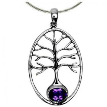 Amethyst Sterling Silver Tree of Life Pendant