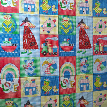 """ON SALE Vintage fabric/ juvenille print/ primary colors fabric/ cute animal panels fabric/ piece is 1 yd and 25"""" long by 44"""" wide"""