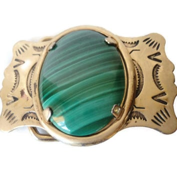 Vintage Native American Malachite Belt Buckle