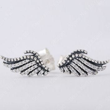 Pave Clear CZ Feather Stud Earring Original Compatible With Pandora Jewelry 925 Sterli