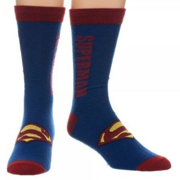Superman Text Logo DC Comics Licensed Crew Socks