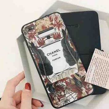 Chanel Stylish Cute Perfume Bottles Pattern iPhone X Shell  iPhone 8plus Protective Cover  iPhone 7p Glass Case