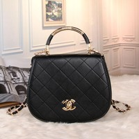 """Chanel"" All-match Simple Fashion Quilted Metal Chain Single Shoulder Messenger Bag Women Flip Handbag"