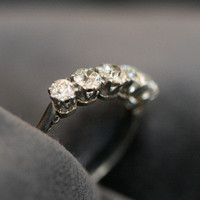 Edwardian Five Stone Diamond & Platinum Engagement Ring by Ruby Gray's | Ruby Gray's Antique & Vintage Rings