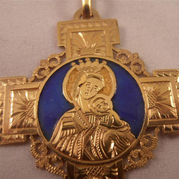 Gorgeous Vintage 18k Yellow Gold Cross with Blue Enamel -Virgin Mary - Pendant - Charm