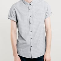 Blue/Grey Textured Short Sleeve Smart Shirt - New This Week - New In