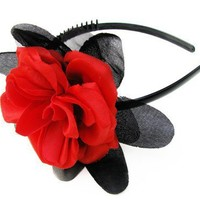 SALE - Headband Red Rose Black Rhinestones, Bridal. Vintage and Handmade Jewelry by My Chouchou on Etsy.