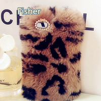 Leopard Pattern Fur iPhone 4 case, iPhone 4s case, iPhone 5 Case, iPhone 5s Case, iPhone 5c Case, Samsung Galaxy Case, Furry Phone skin