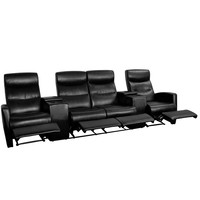 Black Leather 4-Seat Home Theater Recliner with Storage Consoles
