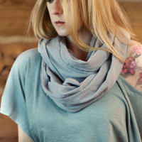 Grey Cotton Infinity Scarf, Gray Cotton Gazue Scarf, Lightweight Soft Scarf, Neutral Circle Scarf, Ladies Scarves, Women's Spring Accessory