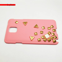 Coral Pink Samsung Note 3 III Gold and White Space Funk Studded Hard Cover Case Special Series Trokm US free shipping