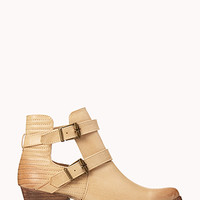 FOREVER 21 Western Cutout Booties Taupe 8