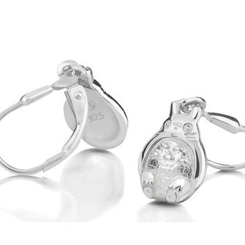 My Neighbor Totoro 925 Sterling Silver White Gold Plated Earrings Cosplay