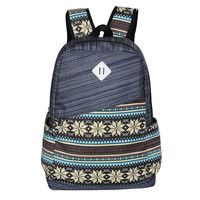 Fresh Folk Style Printed Computer Bag Striped Backpack