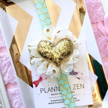 Aqua with Gold Honeycomb Planner Band with Glitter Gold Heart on Cream & Gold Flower