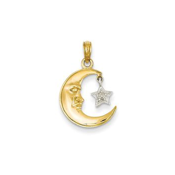 14k Two-Tone Gold Polished Open-Backed Half Moon & Star Pendant