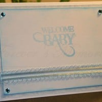 Handmade Baby Boy Card - Blue and White with Rhinestones | foreversmemories - Cards on ArtFire