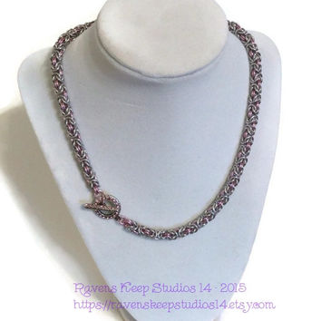 Pink Byzantine Chainmaille Necklace, Crystal Toggle, Tudors Jewelry, 50 Shades, Pink Slave Collar, Game of Thrones Jewelry, CosPlay Jewelry