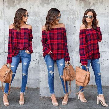 Fashion Women's Ladies Summer Long Sleeve Off Shoulder Shirt Loose Casual Blouse Tops Blouse Red Plaid