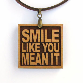 THE KILLERS - Smile Like You Mean It - Wood Lyric Necklace