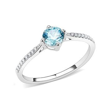 Sea Blue Milena - Women's Round Sea Blue CZ Solitaire Stainless Steel Engagement Ring