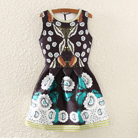 Black Floral Print Sleeveless Mini Dress