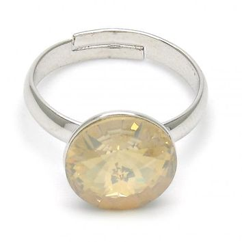 Gold Layered Multi Stone Ring, with Swarovski Crystals, Golden Tone
