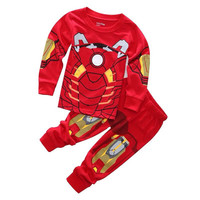 2-7years kid Sleepwear!New Spider-man Iron man Pajamas Kids Sleepwear Baby Boys Nightwear Pyjamas sets