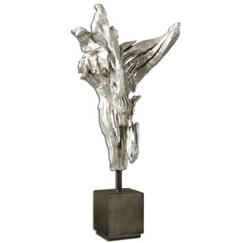 Arjan Silver Driftwood Contemporary Sculpture by Uttermost