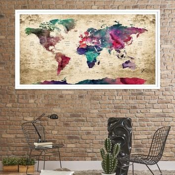 92834 - Large Wall Art World Travel Map Canvas Print - World Map Push Pin Wall Art Canvas Print - Framed Hang on Ready Wall Art Canvas