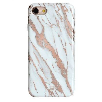 White Marble Rose Gold Chrome 2.0 iPhone Case