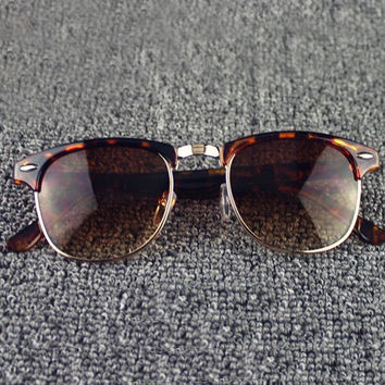 Semi Rimless Leopard Pattern Frame Sunglasses